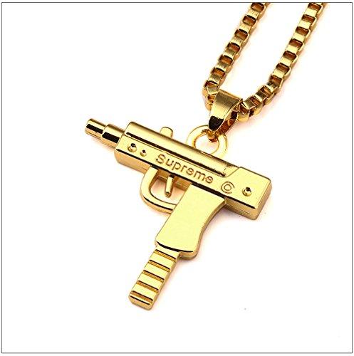 VikingsCap Fashion 18k Gold Silver Plated Mens Hip-hop SUPREME Machine Gun Necklace with 24