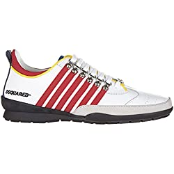 Dsquared2 scarpe sneakers uomo in pelle nuove 251 bianco