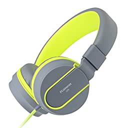 Ailihen I35 Stereo Lightweight Foldable Headphones Adjustable Headband Headsets with Microphone 3.5mm for Cellphones Smartphones Iphone Laptop Computer Mp3/4 Earphones (Grey/Green)