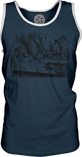 Big Texas Alice In Wonderland - Mad Hatter'S Tea Party (Black) Mens Contrast Singlet Tank-Top T-Shirt, Navy W/ White, M