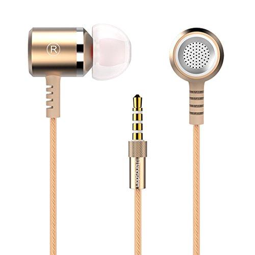 Langsdom 高音質金属イヤホン カナル型EarPods型 重低音 密閉 マイク ゴールド M400