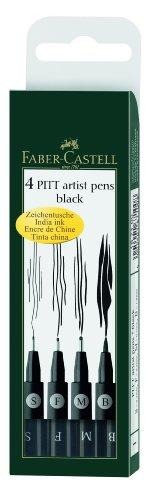 Faber-Castell 167100 - Tuschestift PITT artist pen, 4er Packung, Inhalt: S, F, M, B, schwarz