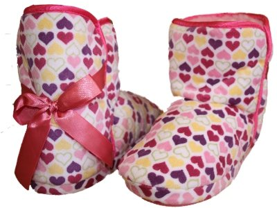 New Kids Girls Novelty LOVE HEARTS Cartoon Snugg Boot Slipper. To Fit UK Child Sizes 8 - 9 - 10 - 11 - 12 - 13 - 1 - 2
