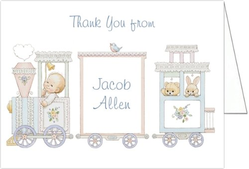 Baby Train Baby Thank You Cards - Set of 20
