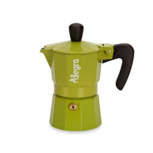 Allegra 1-Cup Espresso Coffee Maker in Green Made from Solid Cast Aluminum w/ 2-year Manufacturer's Warranty