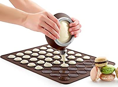 French Macaron Macaroon Baking Set - Baking Sheet Decorating Cake Cookie Non-Stick Kit - 4 Nozzles + 1 x Pastry Baking Sheet - Cup Cake Muffin Pastry Cream Icing - Food grade Silicone(FDA) | BPA Free