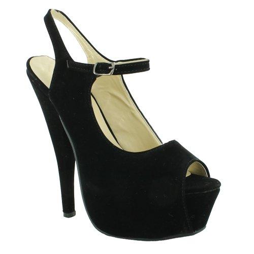 New Ladies Stiletto High Heel Slingback Platform Sandals Womens Gorgeous Sexy Celebrity Fashion Classy Shoes