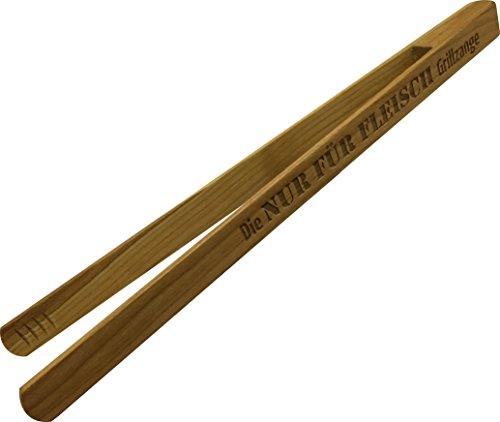Grillzange-30cm-mit-Gravur-aus-Kirschbaum-Holz-Die-NUR-FR-FLEISCH-Grillzange