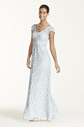 Long Cap Sleeve Lace Bridesmaid Dress Style F15981, Sea Glass, 6