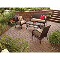Wicker Patio Furniture 4 Piece Mainstays Includes Cushions from MAINSTAYS