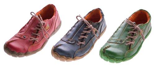 Comfort Damen Leder Schuh von TMA EYES Schwarz Rot Grün Used Look Schuhe echt Leder Halbschuhe