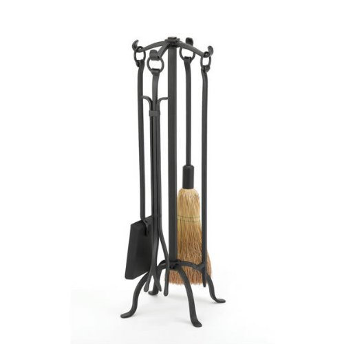 WOODFIELD Woodfield Black Wrought Iron 4-piece Tool Set W/ring Handles 61221 (4 Piece Fireplace Tools compare prices)
