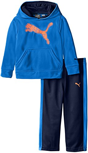 PUMA Little Boys' Pullover Hoodie and Pant Set, Sky Blue, 4T