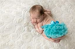 Turquoise Blue Chiffon Baby Girl Diaper Cover with Bow Newborn Baby Photography Props - Newborn Photo Props, Bloomers, Girl Props, Ruffle