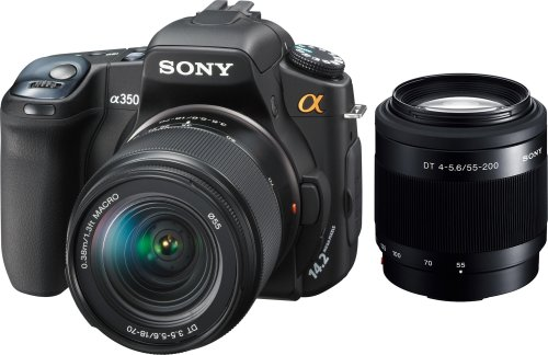 Sony Alpha DSLRA350X 14.2MP Digital SLR Camera with Super SteadyShot Image Stabilization with DT 18-70mm f/3.5-5.6 &#038; DT 55-200mm f/4-5.6 Zoom Lenses