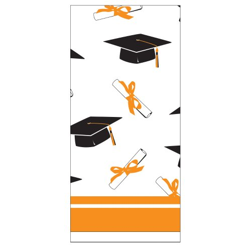 Creative Converting School Colors Paper Art Square Graduation Party Plastic Table Cover, Sunkissed Orange