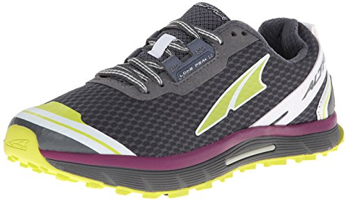 Altra Women's Lone Peak 2 Trail Running Shoe,Dark Gray/Lime/Purple,8.5 M US