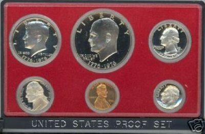 1976 U.S. Bicentennial Proof Coin Set with the 1776-1976 Patriotic designs has six Proof clad Coins in all.