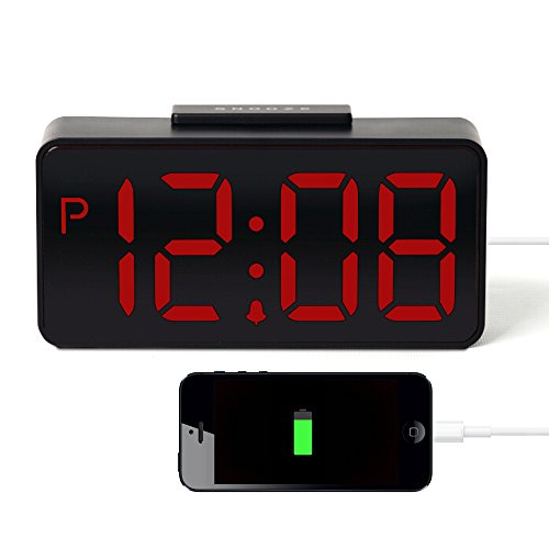 HITO USB Powered Large Display 3″ LED Alarm Clock w/ Hi-Low Alarm Volume, USB Charging- AC Adapter included