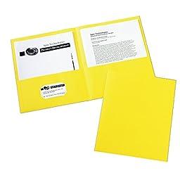 Avery Two-Pocket Folder, Yellow, Box of 25 (47992)