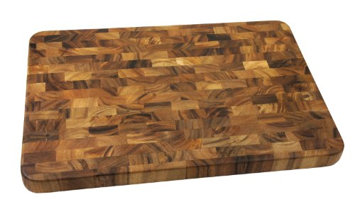 Large End Grain Prep Station, Acacia Wood (Wood Cutting Board Large compare prices)