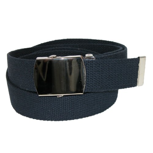 CTM® Unisex Big & Tall Cotton with Nickel Finish Buckle Adjustable Belt (Pack of, XL, Navy