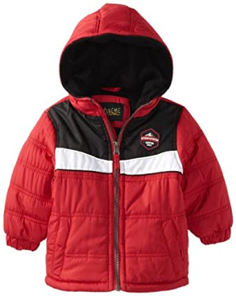 iXtreme Baby-Boys Infant Colorblock Puffer, Red, 24 Months