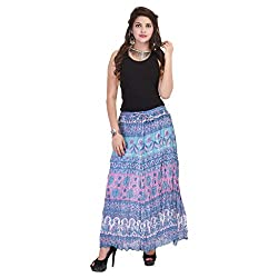 Rangkrit Beautiful Cotton Printed A-Line Blue Long Skirt