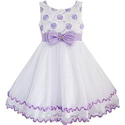 EE45 Sunny Fashion - Vestito floreale, bambina, viola 9-10 anni