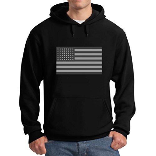 Teestars Men'S - American Flag Black Hoodie Large Black