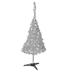 "41 3/4"" Silver Tone Shiny Tinsel Garland Foldable X'mas Christmas Tree Decoration"