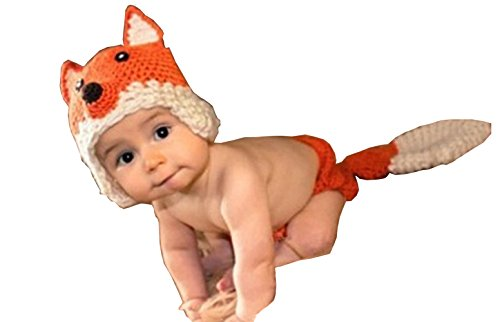 Photography Prop Baby Infant Costume Fox Crochet Knitted Hat Cap Diaper Cover Set