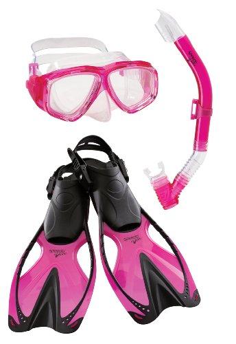 Speedo Kids' Adventure Mask/Snorkel/Fins Set, Pink, Large/X-Large