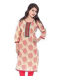 Lal Chhadi Women's Red color Verli printed 3/4 Sleeve Cotton Kurta