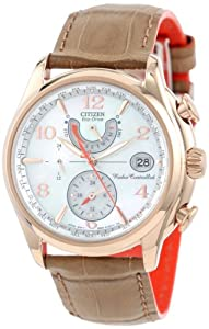 Citizen Watch World Time A.T Women's Quartz Watch with Mother of Pearl Dial Analogue Display and Beige Leather Strap FC0003-18D
