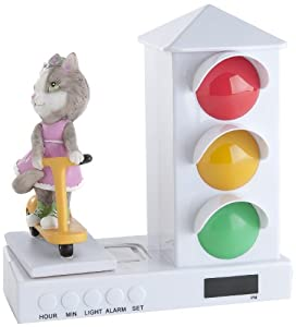 Its About Time Stoplight Sleep Enhancing Clock Miss Kitty Riding A Scooter from Custom Quest