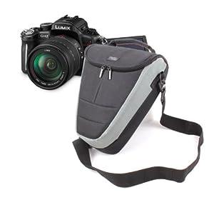 Sacoche étui de protection noir / gris pour appareils photos SLR Panasonic Lumix FZ48, FZ62, FZ200, FZ48 EF-K, TZ30, & SZ1 - poignée rembourrée