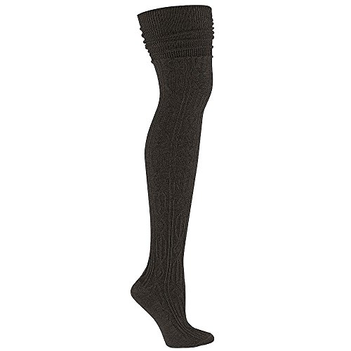 Sock It To Me OTK BLACK CABLE KNIT Womens Thigh High Socks,One Size Fits Most