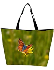 Snoogg Orange Butterfly In Yellow Flower Designer Waterproof Bag Made Of High Strength Nylon