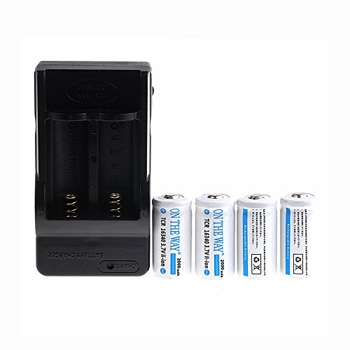ON THE WAY®3.7VLi-ion16340 Battery Chager+4PCS 2000mAh16340 Protected CR123A Rechargeable Battery for LED Flashlight Torch /Photo Camera /Laser Pointer/light meters Etc (White)