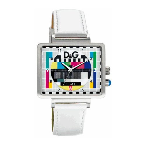 D & G MEDICINE MAN UNISEX COLOURFULTELEVISION TEST CARD DESIGN WRISTWATCH DW0513