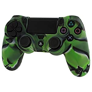 Assecure pro soft silicone skin grip protective cover for Sony PS4 controller rubber bumper case with ribbed handle grip [Playstation 4] (Green Camouflage)