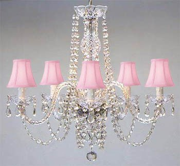 New! Authentic All Crystal Chandelier Lighting Chandeliers with Pink Shades!