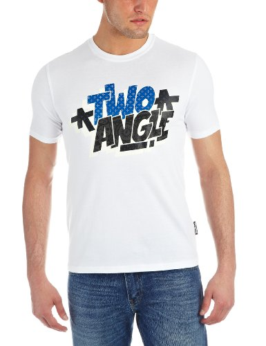 Two Angle Clogo Printed Men's T-Shirt White X Large