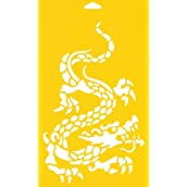 30cm x 17.5cm Reusable Flexible Plastic Stencil for Cake Design Decorating Wall Home Furniture Fabric Canvas Decorations Airbrush Drawing Drafting Template - Oriental Chinese Dragon Monster