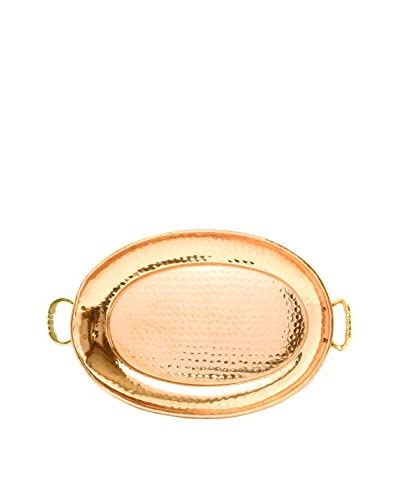 Old Dutch International 17 Oval Décor Copper Tray with Cast Brass Handles