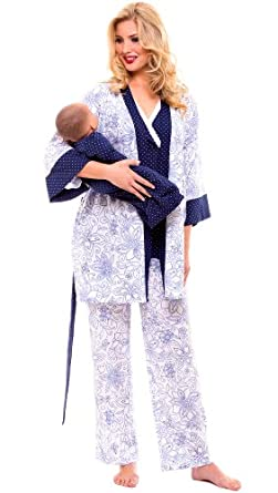"""The Olian """"Anne"""" Nursing Pajama Set with Baby Gown (X-Small, Navy Print)"""