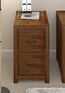 Grand solid walnut furniture 2 drawer filing cabinet storage home office