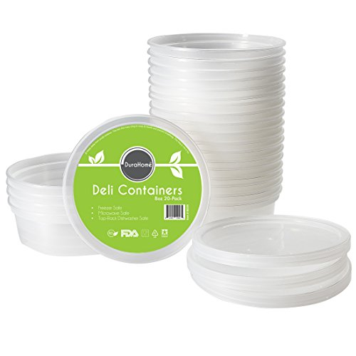Deli Containers with Lids, 8 oz. Plastic Microwaveable Clear Food Storage Container Premium Quality, Made in USA, Pack of 20 - DuraHome™ (Little Freezer compare prices)