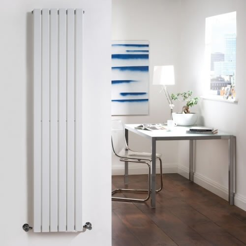 White Designer Radiator - Flat Panels - Luxury Central Heating Vertical 'Plane' Columns - 1600mm x 354mm